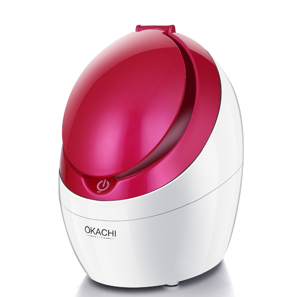 Vaporizador Facial Nano iónico para salón de belleza Facial Sauna Personal SPA espinillas reomovaladas claro con espejo de maquillaje OKACHI GLIYA-in Vaporizadores faciales from Electrodomésticos    1