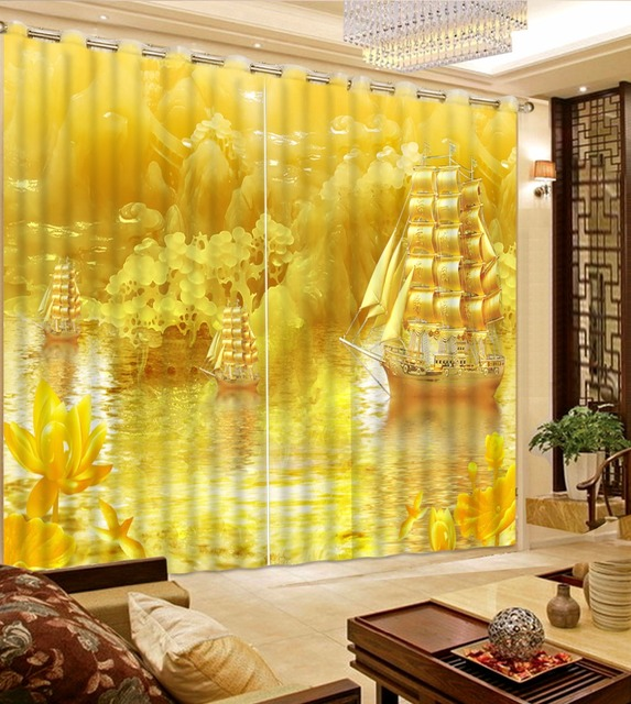 New Arrival Blackout Curtains Ceeative Gold Sailboat Luxury For Bedroom 3D Printing Window Living Room