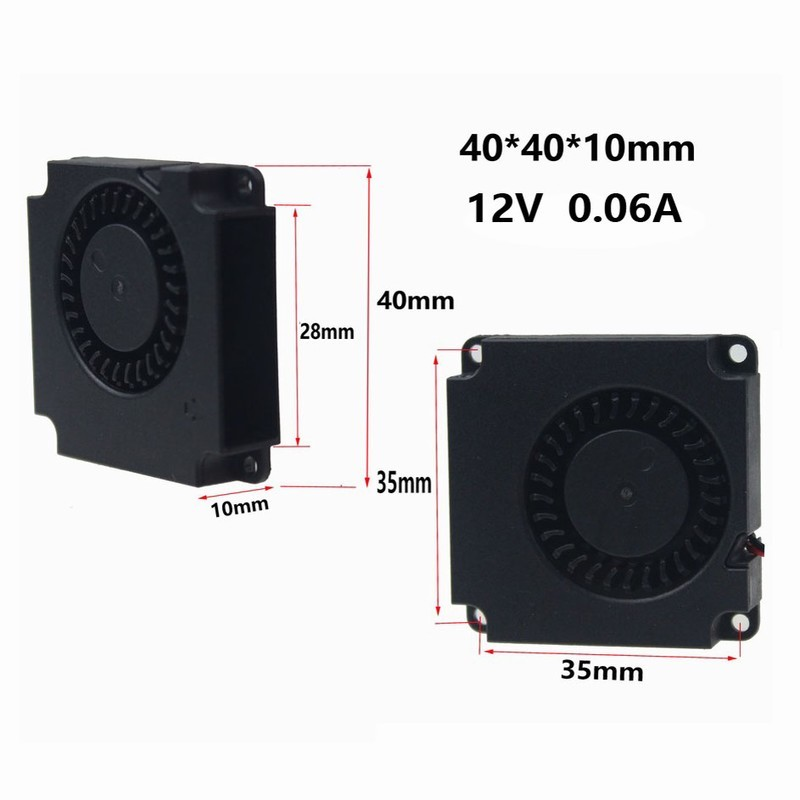 5PCS Gdstime 4010 3D Printer Cooling Fan 40mmx40mmx10mm 2Pin 12V 4cm DC Brushless Turbo Centrifugal Blower Cooler 5015 12v cooling turbo fan brushless 3d printer parts 2pin for makerbot reprap prusa i3 dc cooler blower 50x50x15mm part plastic