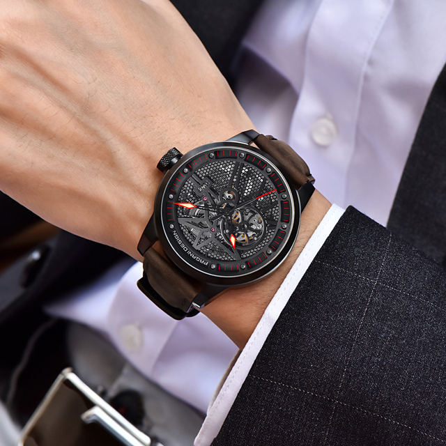 Classic Skeleton Mechanical Waterproof Genuine Leather Watch 1
