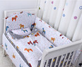 Free shipping Fox 3D embroider Crib Baby Bedding Set Cotton Print 5Items Cot Quilt/Bed Around/Bed Skirt/Mattress Cover/blanket
