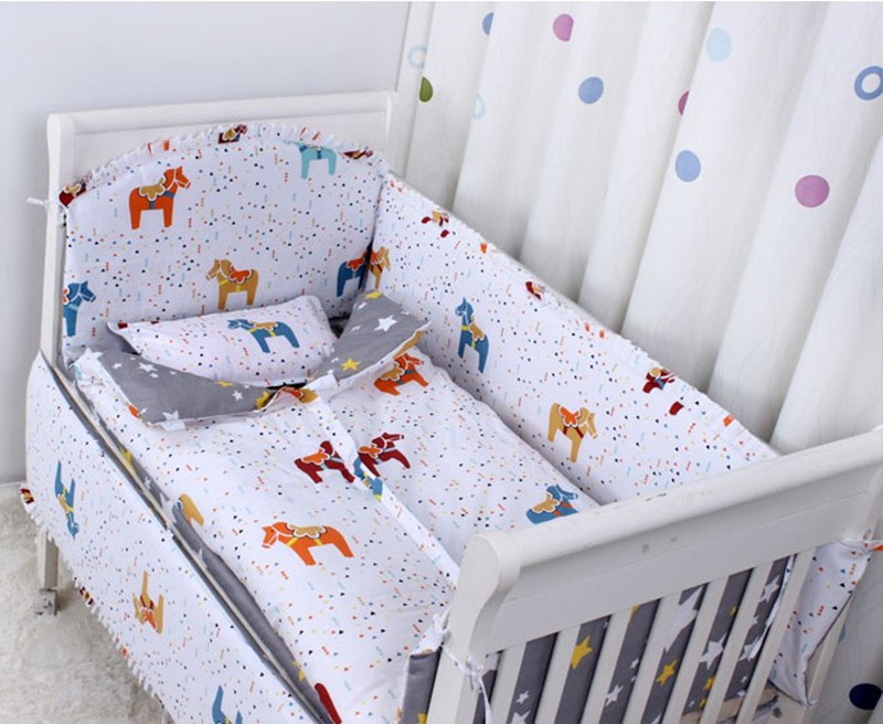 adamant ant Fox 3D embroider Crib Baby Bedding Set Cotton Print 5Items Cot Quilt/Bed Around/Bed Skirt/Mattress Cover/blanket