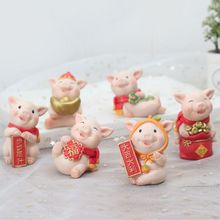 2019 Pig Auspicious Decoration New Year Cartoon Resin Desktop Home Car Gift