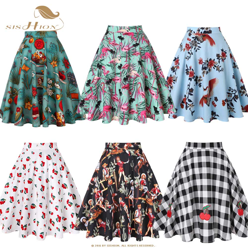 SISHION 2020 Floral Print Women Skirts Summer Green High Waist Casual Vintage Swing Retro Skater Midi Skirt Faldas Mujer VD0020