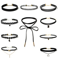 GraceAngie 10pcs Set Sexy Black Gothic Punk Velvet Tattoo Lace Choker Necklace Long Pendant Jewelry Women