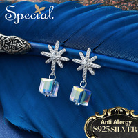 Special Brand Fashion 925 Sterling Silver Stud Earrings Snowflake AAA Zirconia Ear Pins New Jewelry Gifts