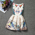 Beautiful design colorful Parrot sleeveless O-neck casual girls dress knee-length novelty dresses good quality girls clothes