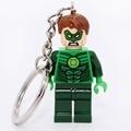 Green Lantern Marvel Super hero Keyring Keys Custom Ring Keychains DIY Handmade Key Chain Building Blocks Toys