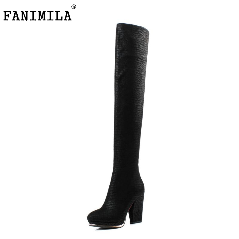 women real genuine leather high heel over knee boots fashion long boot winter warm botas quality footwear shoes R7228 size 34-39 usb charge dock sub pcb s010 sub