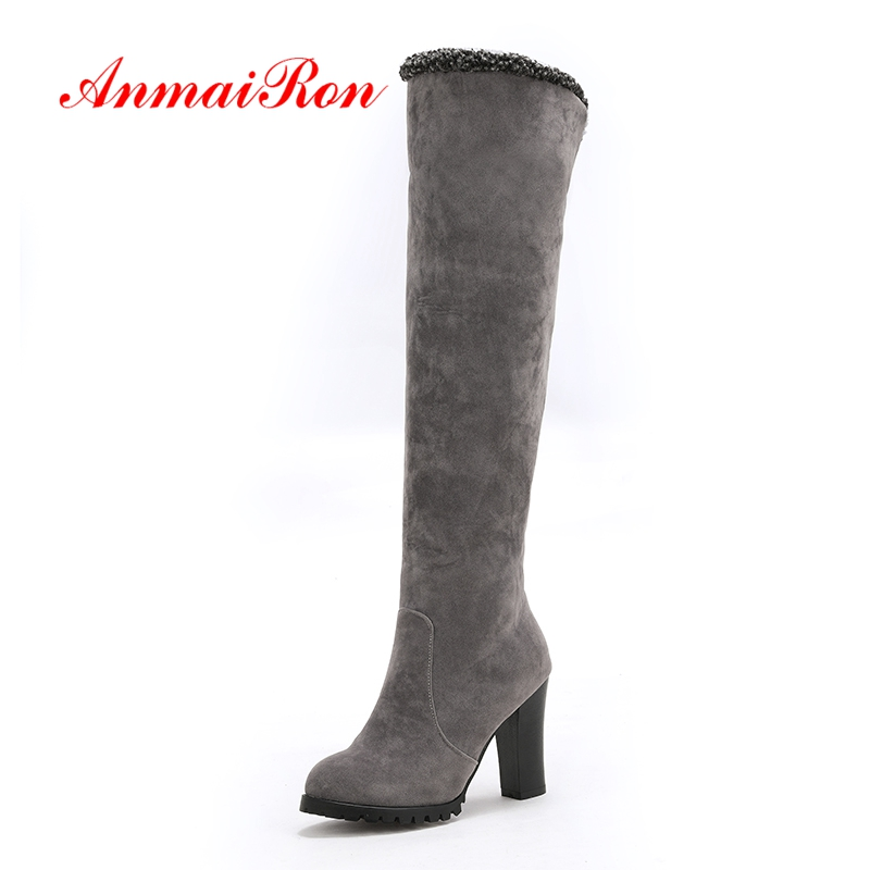 ANMAIRON Woman Over The Knee High Boots Round Toe Fashion Boots Flock Shoes Women Big Size 34-46 Winter Thick heels Gray CR1583