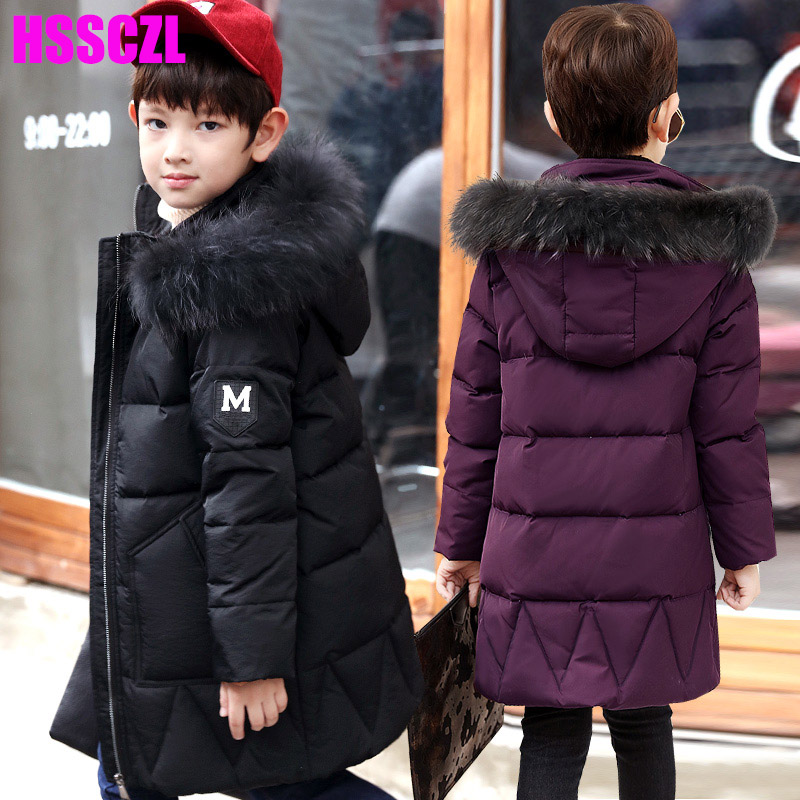 HSSCZL Boys Down Jackets Winter 2017 Brand Hooded Collar Long Boy Children Down Jacket Coat Outerwear Overcoat Parkas Clothes casual 2016 winter jacket for boys warm jackets coats outerwears thick hooded down cotton jackets for children boy winter parkas