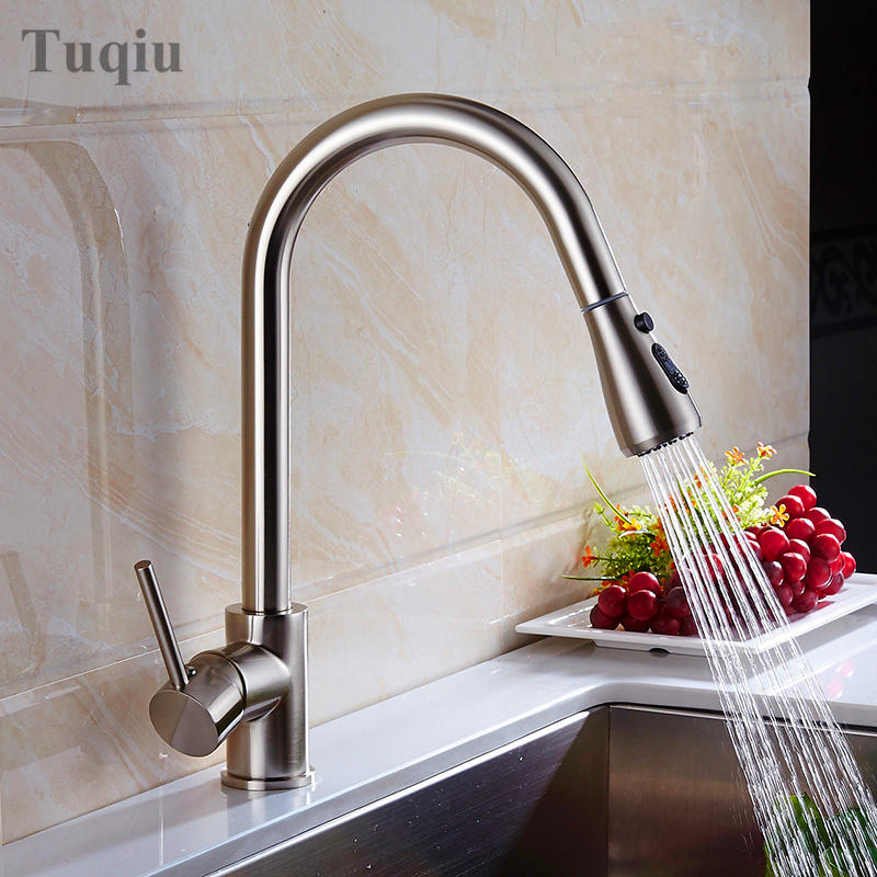 Free Shipping Brass kitchen nickel faucets hot and cold water tap kitchen sink faucet taps mixer with pull down shower head