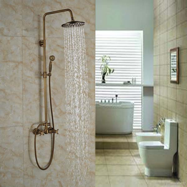 Luxury Bathroom Wall Mounted Shower Faucet Set Wall Mount Brass 8 Rainfall Shower Mixer Taps luxury temperature control thermostatic shower faucet set wall mount 8 rainfall shower set mixer tap