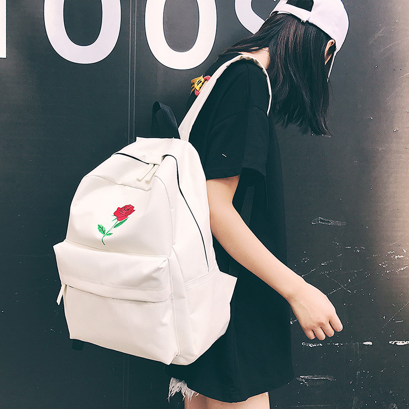 e844a899b12d Men Canvas Backpack Cute Fashion Women Rose Embroidery Backpacks for Teenagers  Women s Travel Bags Mochilas Rucksack