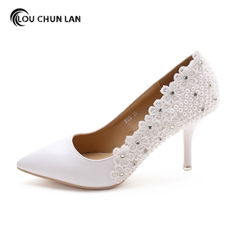 LOUCHUNLAN Shoes Woman's Shoes Pumps White Wedding Shoes Pointed Toe pearls Bride Shoes  Drop Shipping