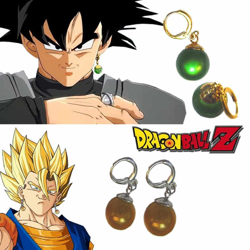 Hadiah Dragon Ball Z Vegetto Potara Hitam Son Goku Cosplay Kostum Cincin Zamasu Telinga Stud Anting-Anting Senjata Prop