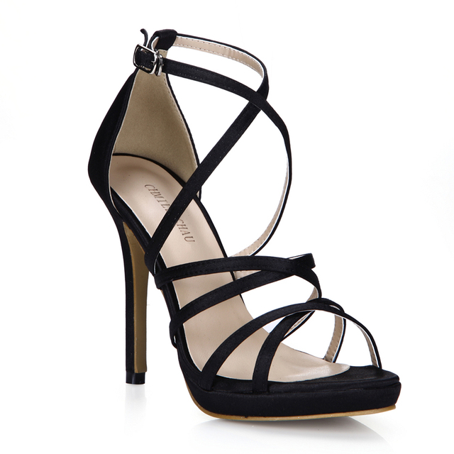 CHMILE CHAU Glitter Sexy Wedding Party Women Shoes Stiletto Heel Gladiator Rome Buckle Ankle Strap Bridal Sandals 0640A-4c 10