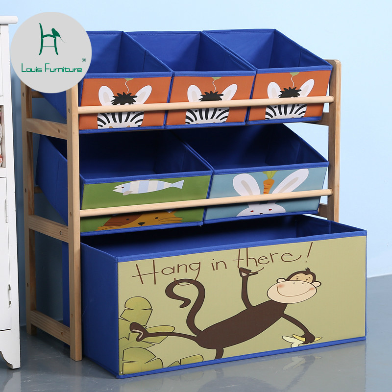Louis Fashion Children Cabinets Solid Wood Toys Storage Finishing Shelves Children's Household Toys Storage #1