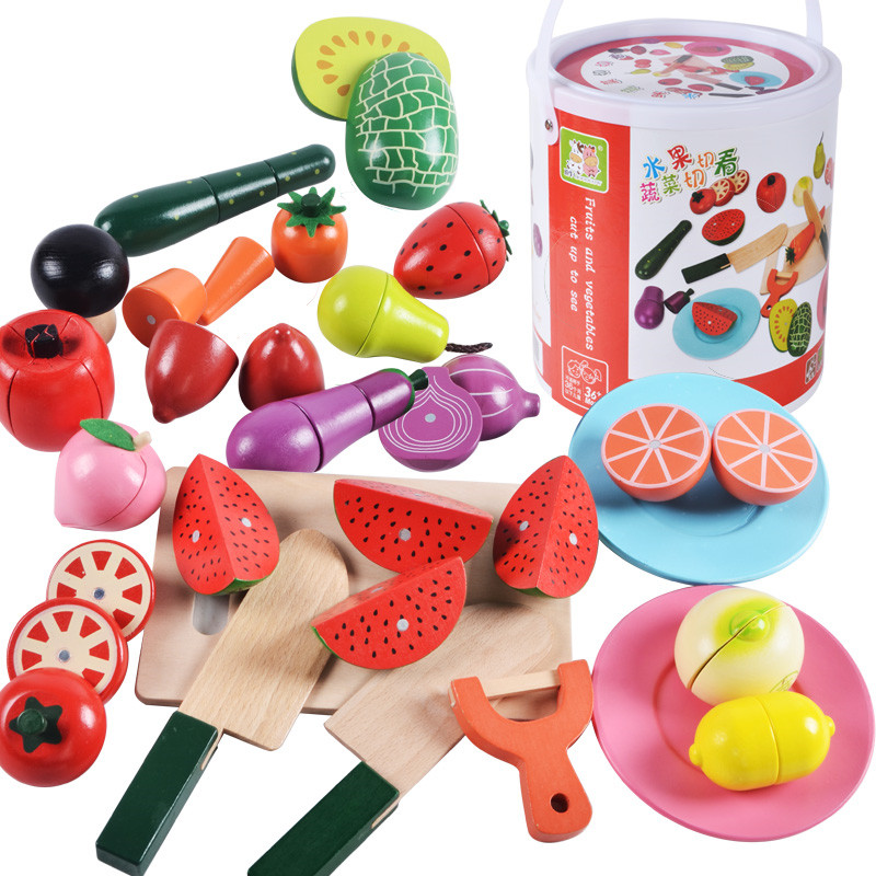 New Arrive Baby Toys 22Pcs Large Magnetic Fruit Vegetable Food Cut Set Wooden Toys Bottle Packing Kitchen Toy Child Bithday Gift in Kitchen Toys from Toys Hobbies