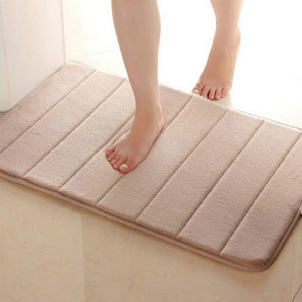 Useful 40 60cm Memory Foam Bath Mats Bathroom Horizontal Stripes Rug Absorbent Non Slip
