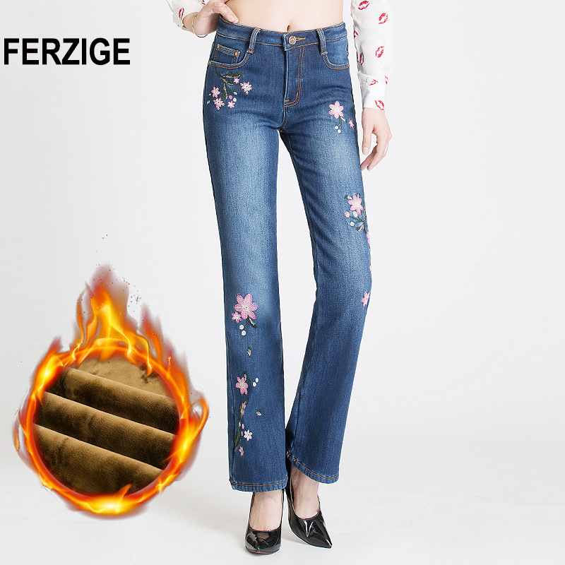 FERZIGE Jeans Woman with Embroidery Winter Warm Fleece Heat Insulated Jeans Stretch High Waisted Women Girls