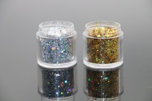 2Bottle/Set Gold Silver Black Sequin Dust Gem Holographic  Nail Glitter Decorations Acrylic UV Glitter Powder 3D Nail Art Tips  10g bag diy marquise acrylic gold sliver 3d nail art decorations charms glitter nail decoration tools sticker tips