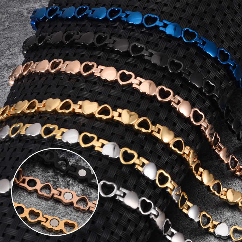 Vinterly, pulseras magnéticas para mujeres, brazalete de cadena de corazón para mujeres, germanio, energía saludable, pulsera de acero inoxidable, beneficios para mujeres
