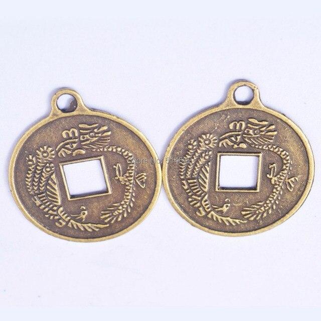 5 Stücke Feng Shui I Ging Münzen Doppel Dragonas Münzen Anhänger