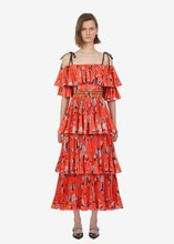 New arrival summer off-shoulder pleated dress Chic womens beach style Fashion floral print chiffon A406