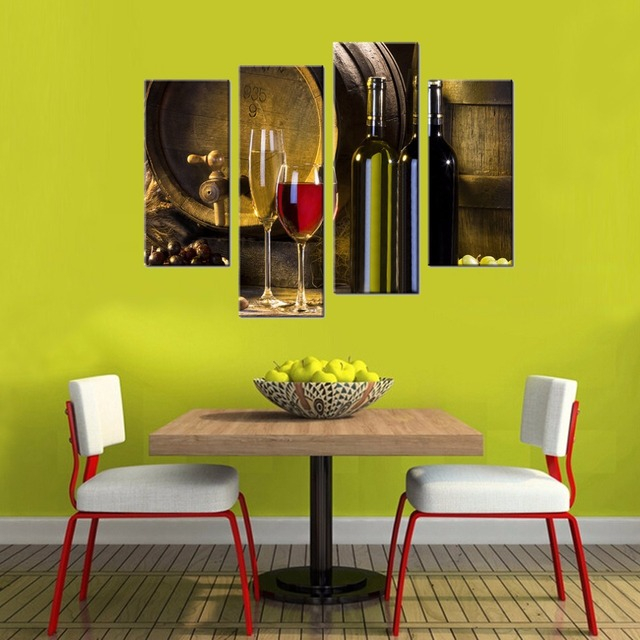 Canvas Prints Red Wine Barrel and Glass Wall Art Kitchen Decor ...