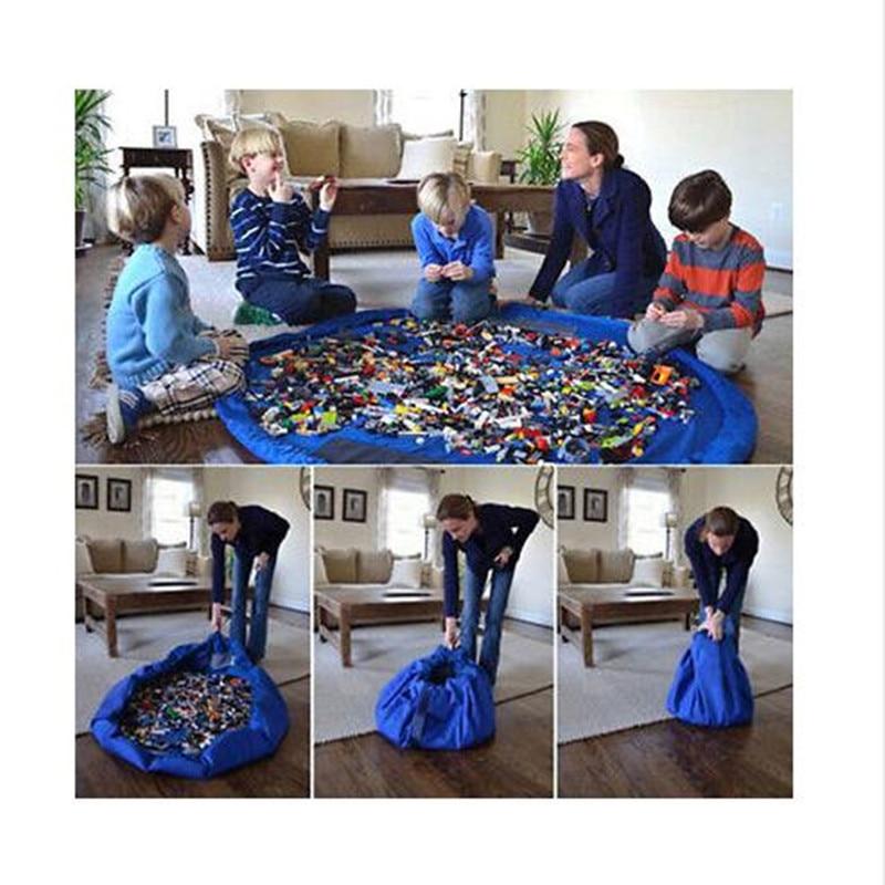 Bolsa portátil de almacenamiento de juguetes para niños y Estera de juego de Lego juguetes organizador caja de basura XL bolsas de almacenamiento prácticas de moda