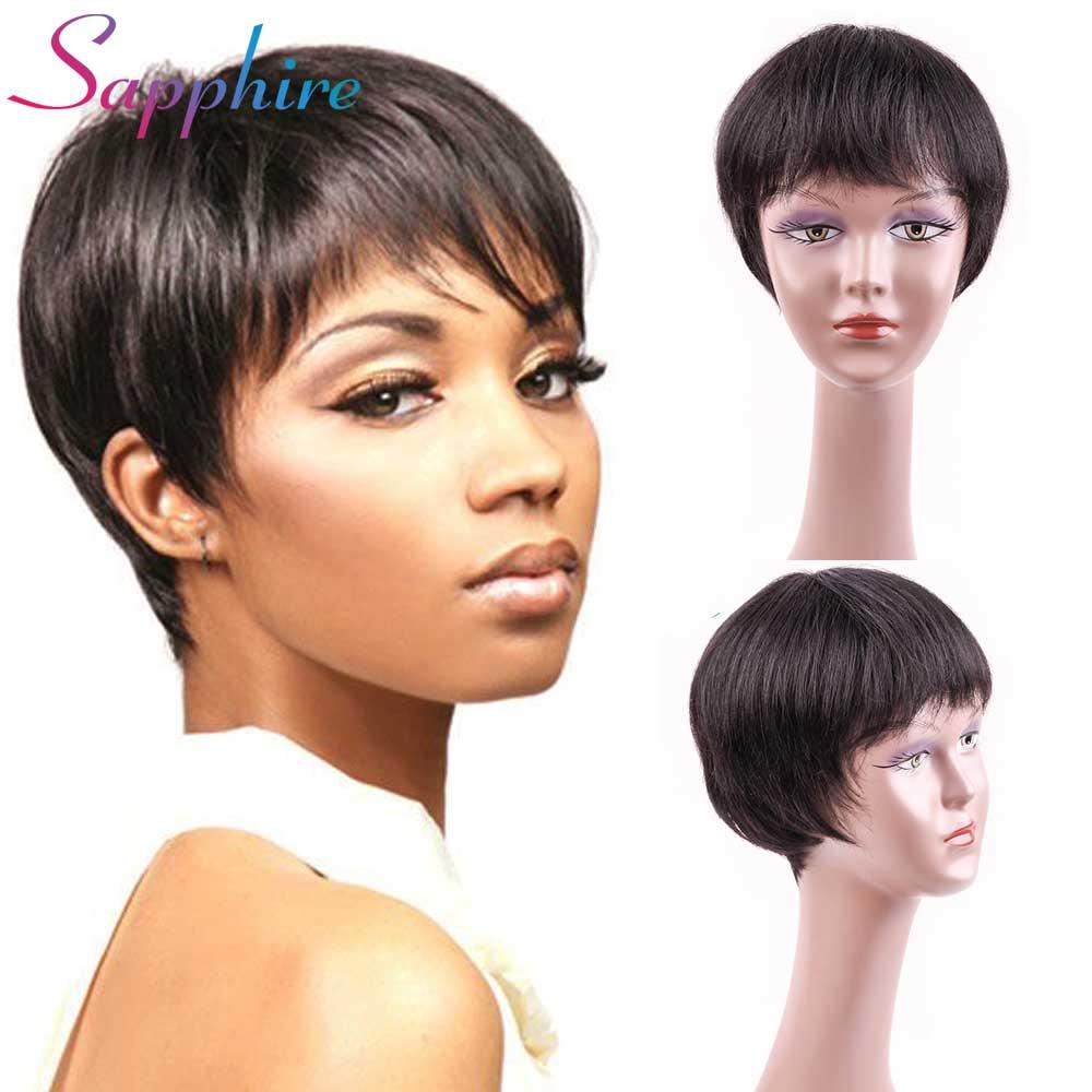 SAPPHIRE 100 Human Hair Wigs Brazilian Non Remy Human Hair Straight Short Wig For Women 1B