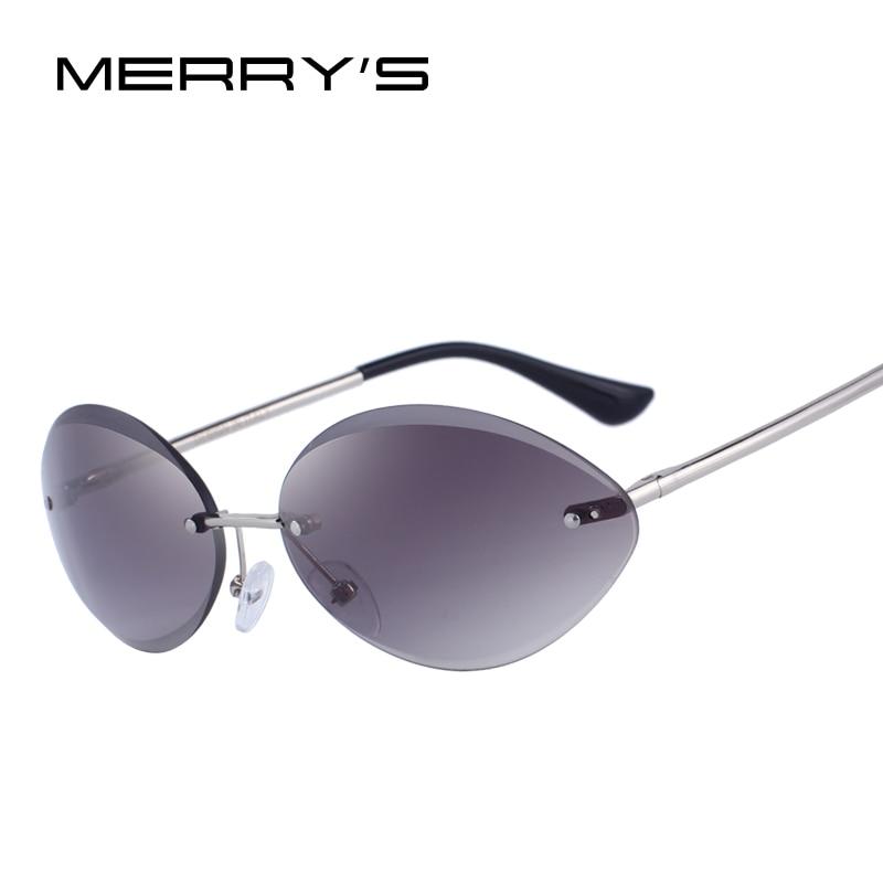 MERRY'S DESIGN Women Rimless Oval Sunglasses Gradient Lens UV400 Protection S'6157