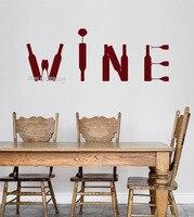 Bar Alkohol Butelka wina Wall Art Vinyl Kalkomania Naklejki Wymienny Naklejki Ścienne Dla Kuchni Restauracji Tapety Wodoodporna LA512