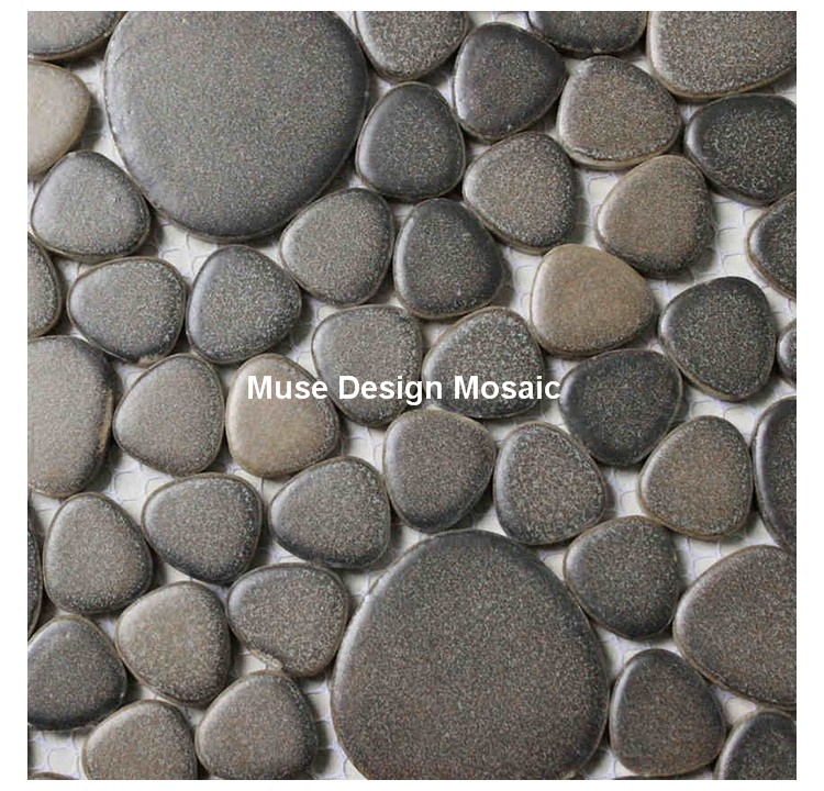 Pebble Ceramic Tiles For Bathroom Shower Floor Tiles Kitchen Backsplash  Garden Path Hallway Swimming Pool Mosaic Brown Color  In Wallpapers From  Home ...