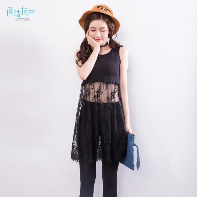 7a9eea3588f69 Gelouhuakai 2017 Summer Women Lace Dress Black/White Casual Sexy Sleeveless  Lace Dress Hollow Out See Through Beach Dresses