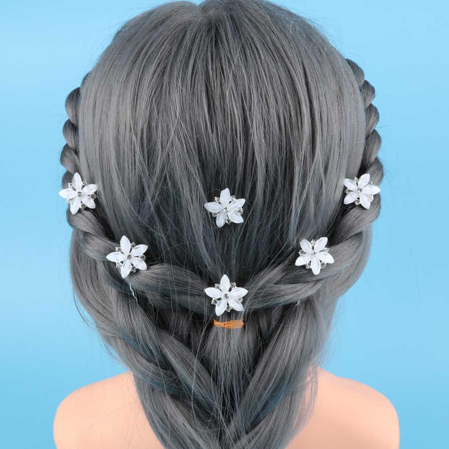 10pcs Girls White Flower Star Hair Clips Hair Pins Wedding For Bridal Princess Barrettes Hair Accessories High Quality 2018