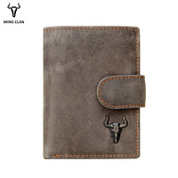 Mingclan Men Wallet Crazy Horse Original Leather Male Wallets Rfid Blocking Coin Purse Flip ID Credit Card Holder Hidden Pocket