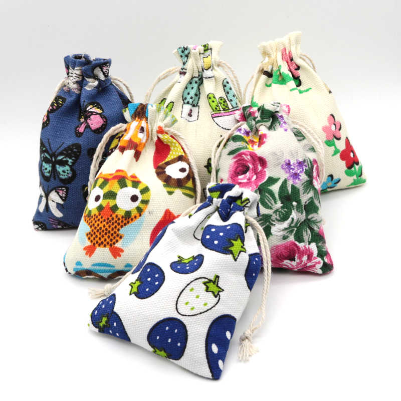 Handmade Cotton Linen Storage Package Bag Drawstring Bag Small Coin Purse Travel Women Wedding Gift Packaging Can Customized