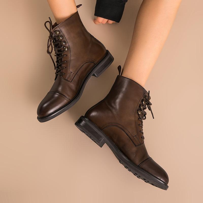 BeauToday النساء حذاء من الجلد حقيقية جلد البقر الدانتيل متابعة جولة اصبع القدم أعلى جودة الخريف الشتاء السيدات الأحذية اليدوية 03086-في أحذية الكاحل من أحذية على  مجموعة 2