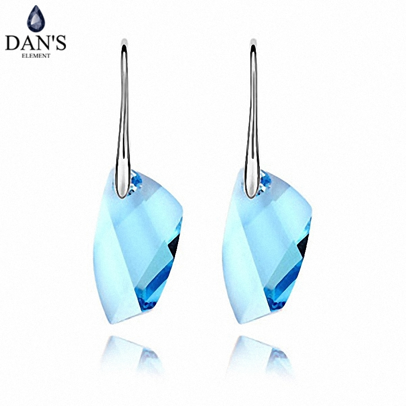 DAN S Element New Sale Made with Real Austrian Crystals White Gold Color Vintage Earrings for