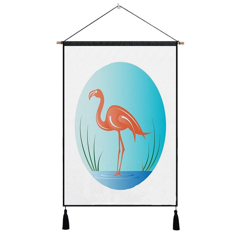 Flamingo Leaf Tapestry Opknoping Muur Doek Tapijt 45*65 Cm Art Tapisserie Schilderij Tapijt Boho Woondecoratie Accessoires Geselecteerd Materiaal