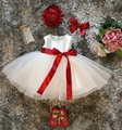White Baby Girl 1st Birthday Dress Infant Party Tutu Dress Pearls Decoration Baptism Clothes For Newborn Kids Christmas Clothing