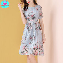 2019 new European and American summer ladies temperament fashion slim floral chiffon dress Knee-Length  Print