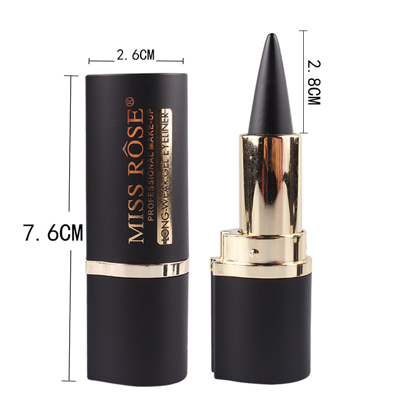 MISS ROSE gold mid-beam full dumb black tube eyeliner texture and strong performance long-lasting, natural makeup