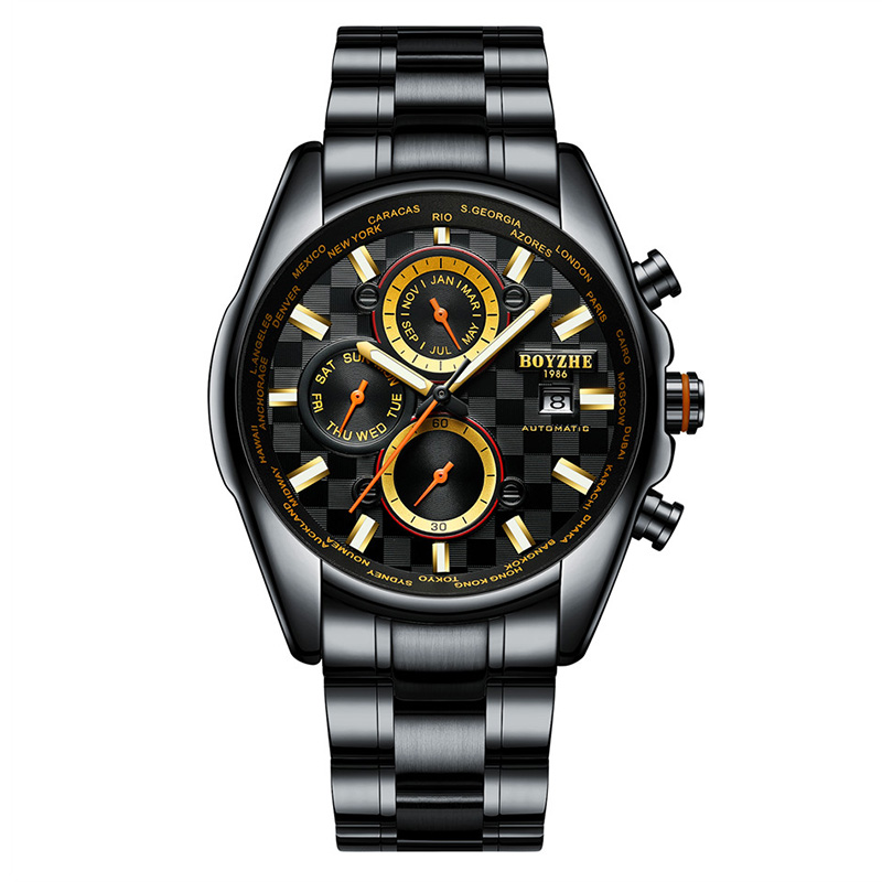 Watch Men Automatic Mechanical Watches Waterproof Sport Luxury Mens Casual Fashion Leather BOYZHE Men Watches Relogio Masculino in Sports Watches from Watches