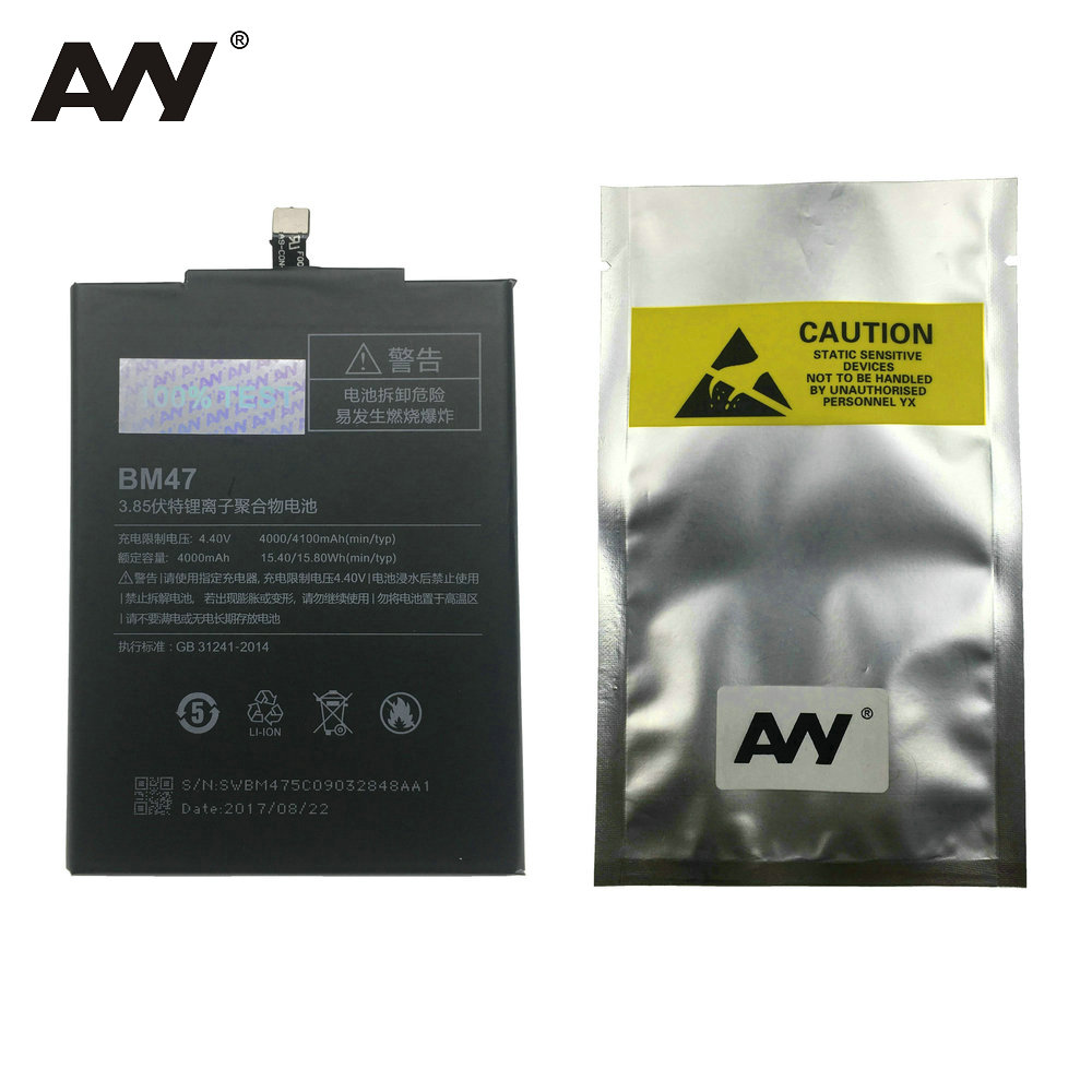 AVY Battery BM47 For Xiaomi Redmi 3 3S 3X Redrice Redmi 4X Mobile Phone Replacement Li-ion Batteries 4000mAh 4100mAh 100%Test
