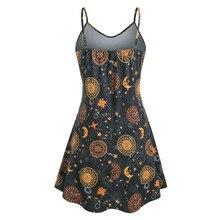 Sun Moon Print V-Neck Loose Sleeveless Mini Dress RK