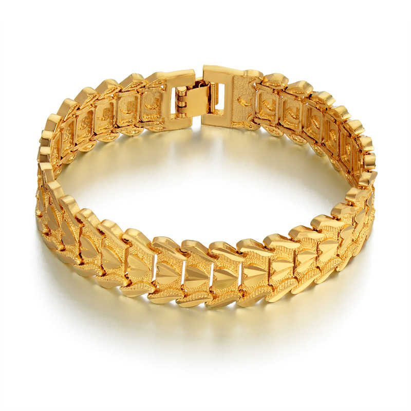 19CM Chain Link Bracelet Gold Color Chunky Bracelet 15MM Wide Heart Mens Chain Female Link Bracelets