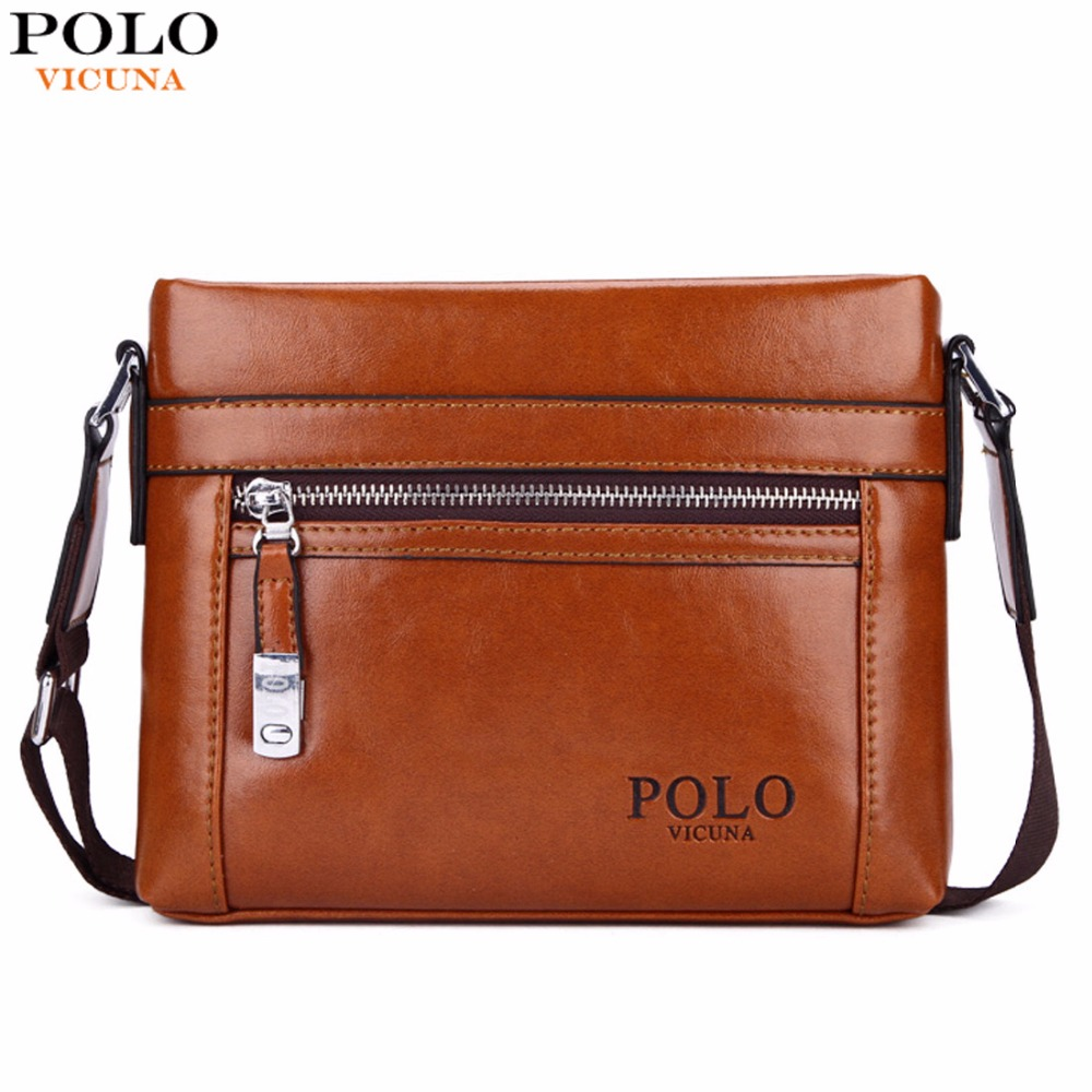 VICUNA font b POLO b font Theftproof Hasp Open Small Oil PU Leather Messenger Bags For